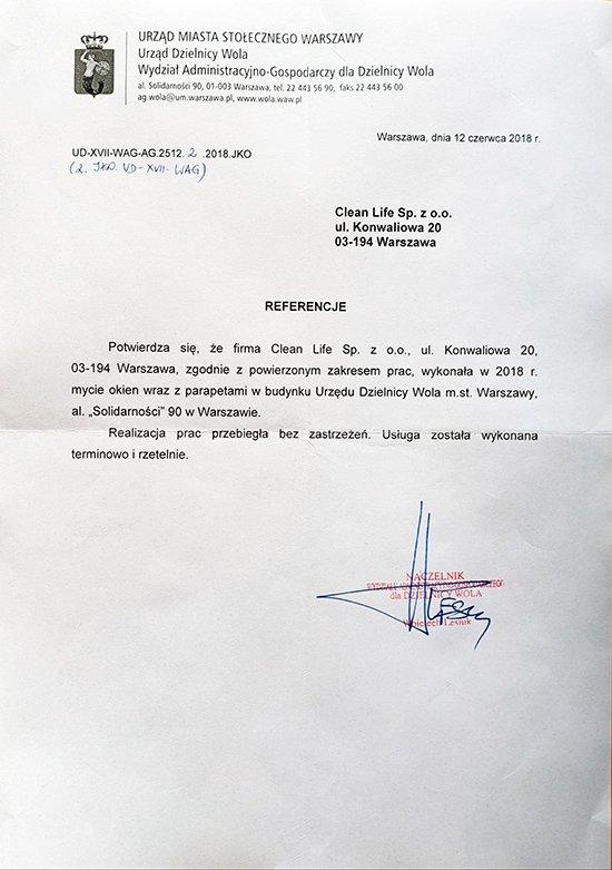 Mycie okien Urząd Dzielnicy Wola m. st. Warszawy